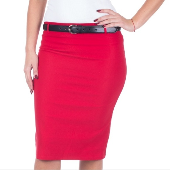 Forever Young Dresses & Skirts - Pencil Skirt with Belt, D-3018, Red